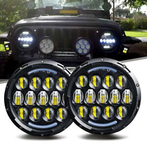 Pair 7inch Round Led Headlights Bulb Chrome Headlamp Upgrade Fit For Porsche 944