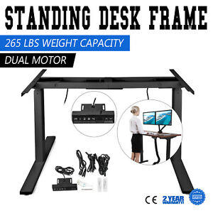 Electric Height Adjustable Standing Desk Frame Sit To Stand 3 Tier Dual Motor