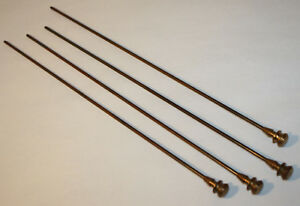4 Vintage Card Catalog Drawer Rods With Brass Knobs