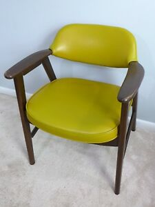 Vintage Mustard Yellow Gunlocke Style Arm Chair Mid Century Modern Office Chair