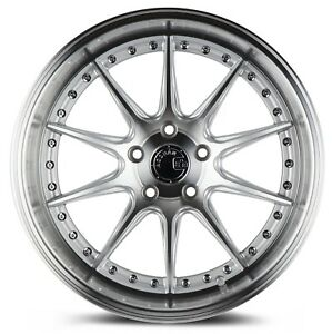 Aodhan Ds07 18x8 5 35 5x100 Silver W Machined Lip Set Of 4