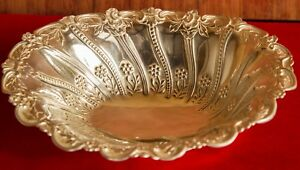 Antique Gorham Sterling Silver Bowl Flower Accents 1800s Free Shipping