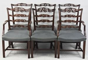 Set Of 6 Chippendale Solid Mahogany Carved Ribbon Back Dining Chairs