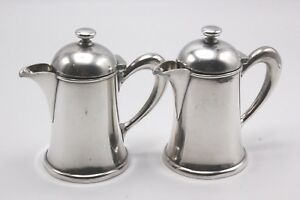 Pair Of Christofle France Silverplate Heavy Lidded Creamers
