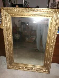 Large Wood Gesso Gilt Beveled Mirror 46 33 Perfect