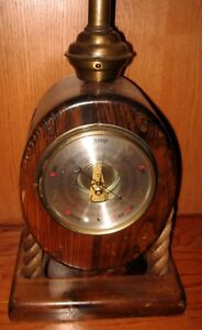 Vintage Ship Maritime Table Lamp Nautical Block Pulley Barometer Made England