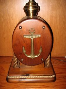 Vintage Ship Maritime Table Lamp Nautical Block Pulley Made England Anchor