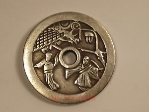 Collect Old Chinese Silver Bronze Dynasty Antique Hole Money Coins Pendant