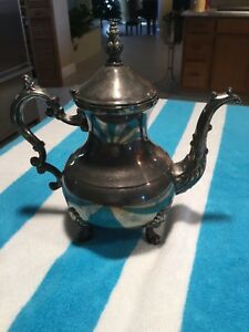 Vintage Fb Rogers Silver Plate Tea Pot Coffee Water Pitcher 10 Tall Ornate Decor