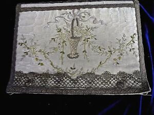 Antique Silk Folder Portfolio Folio Metallic Gold Trim Very Fine Embroidery