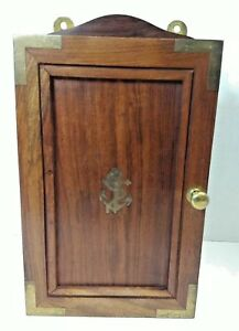 Brass Anchor Inlay In Wood Wall Key Box Nautical Mariner Maritime Boat Cabinet