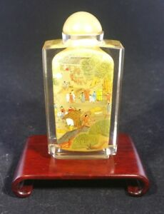 Antique Chinese Reverse Glass Painted Snuff Bottle Village Scene Wood Stand Nice