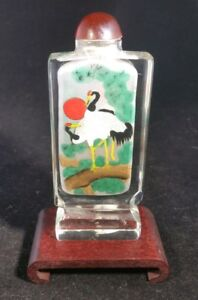 Antique Chinese Reverse Glass Painted Snuff Bottle Signed Pat W Wood Stand Nice