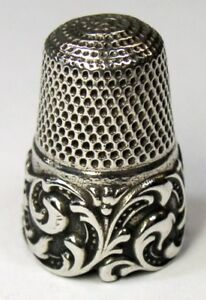 Antique Waite Thresher Co Sterling Silver Thimble Tendrils R P Mngm C1890s