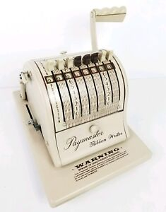 Paymaster Ribbon Writer Series 8000 Vintage Check Writer With Key Works Tested
