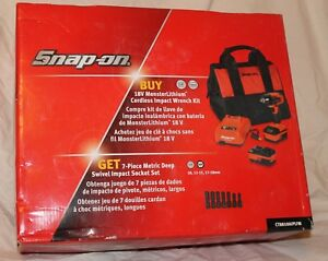Snap on 18v 3 8 Cordless Impact W 2 Batteries Charger And Tote Ct8810 Nib