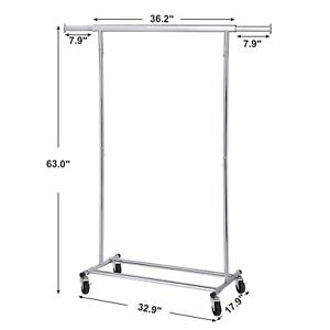 Commercial Garment Rack Rolling Clothes Construction Durable Hanging Organize Us