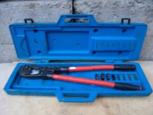 T b Thomas Betts Tbm8s Wire Cable Crimper With Many Dies Works Fine 6