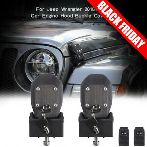 Auto Hood Lock Latches Buckle Pins Catch With Key Kit Fit 2018 Jeep Wrangler Jl