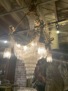 Antique French Gilded Bronze Crystal Palace Chandelier Circa 1880 Gorgious