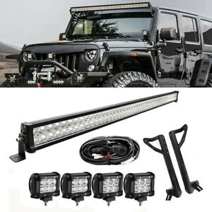 52 990w Led Light Bar 4x 18w Pods Mount Bracket Fit 07 17 Jeep Wrangler Jk 50