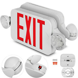 6 Pack Emergency Lights Red Exit Sign W dual Led Lamp Led Dual Heads Evacuation