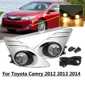 For 2012 2014 Toyota Camry Clear Bumper Fog Lights W Bulbs Switch Chrome Cover