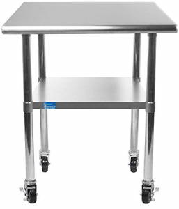 18 X 24 Stainless Steel Work Table With Under shelf 4 Wheels Nsf Kitchen