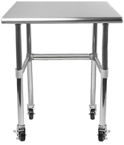 Amgood Stainless Steel Work Table With Open Base Rcb Wheels Casters Food