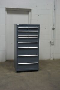 Used Lista 8 Drawer Cabinet Industrial Tool Parts Storage 733 Vidmar