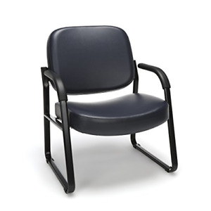 Ofm Big And Tall Reception Chair With Arms Anti microbial anti bacterial Navy