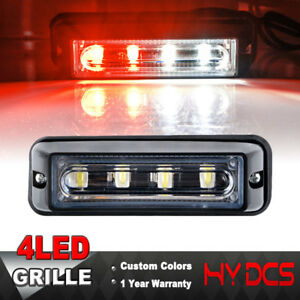 4 Led Cob Car Emergency Warning Hazard Beacon Strobe Grill Red White Light Lamp