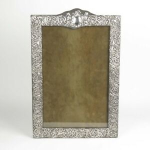 Large Silver Mounted Picture Frame Sterling Antique Huge Fits 18x12 In Image