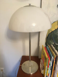 Vintage Mid Century Modern Chrome And Glass Mushroom Table Lamp Light