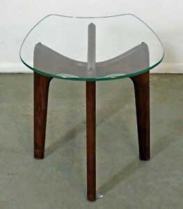 Mid Century Danish Modern Adrian Pearsall Stingray Glass Top End Side Table