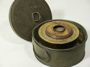 Early Antique Lighting Device Tinder Box Light Alchohol Burning Tin Can Lamp