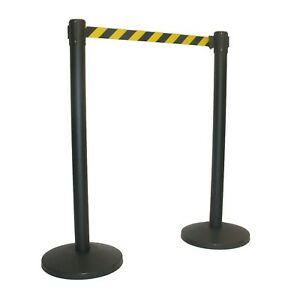 New Uline H 3736b y Crowd Control Barrier Post W retractable Black yellow Belt