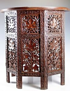 Vintage Carved Wood Middle Eastern Octagonal Fold Able Base Home Decor Table