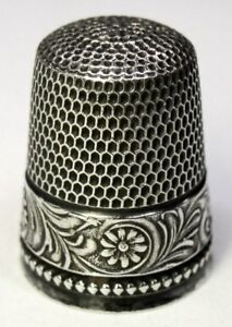 Antique Simons Brothers Sterling Silver Thimble Flowers Leaves Design C1890s