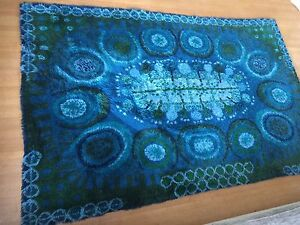 Large Danish Rya Rug Abstract Blues Wool Verner Panton Ege Era Modern 6 2 X 9 8