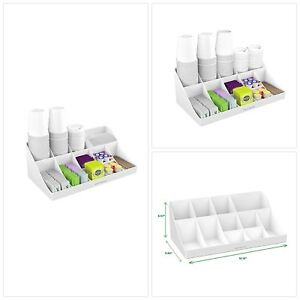 11 Compartment Organizer Condiment Coffee Cup Tea Holder Office Break Dispenser
