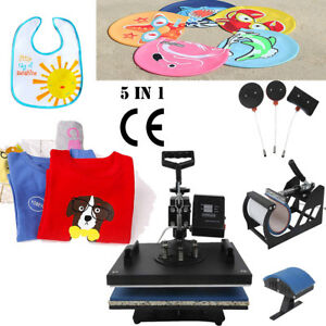 5 In1 Sublimation Heat Press Transfer Machine Printer Mug Cup Plate Hat T shirt