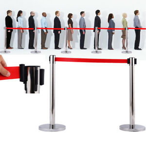 2 Crowd Control Stanchions Stand Queue Line Post Barrier Retractable Red Belt