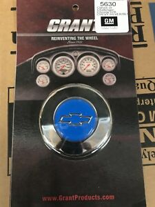 Grant Chevy Steering Wheel Horn Button Blue