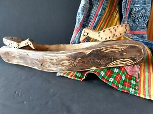 Old Australian Aboriginal Carved Wooden Canoe With Birds Beautiful Collection