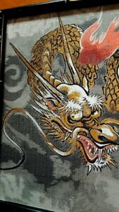 Japanese Embroidery Fighting Dragon Silk Thread Framed Vintage Signed