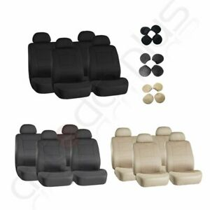 For Acura Ford Black Beige Gray Embossed Cloth Car Auto Seat Covers Protector