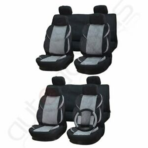 Grey Black Suede Polyester Car Vehicle Seat Covers W Headrest Cover For Honda