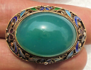 Cina China Old Chinese Silver Gilt Filigree Brooch With Green Agate