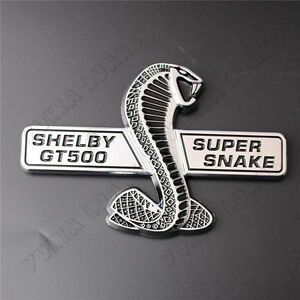 Shelby Gt500 Snake Cobra Abs Badge Car Front Grille Emblem Sticker For Mustang